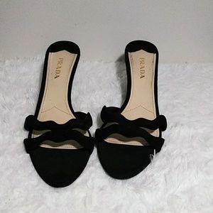 PRADA Black Slip-On Leather Suede Dress Sandals 41